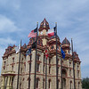 Caldwell County Courthouse, with flags